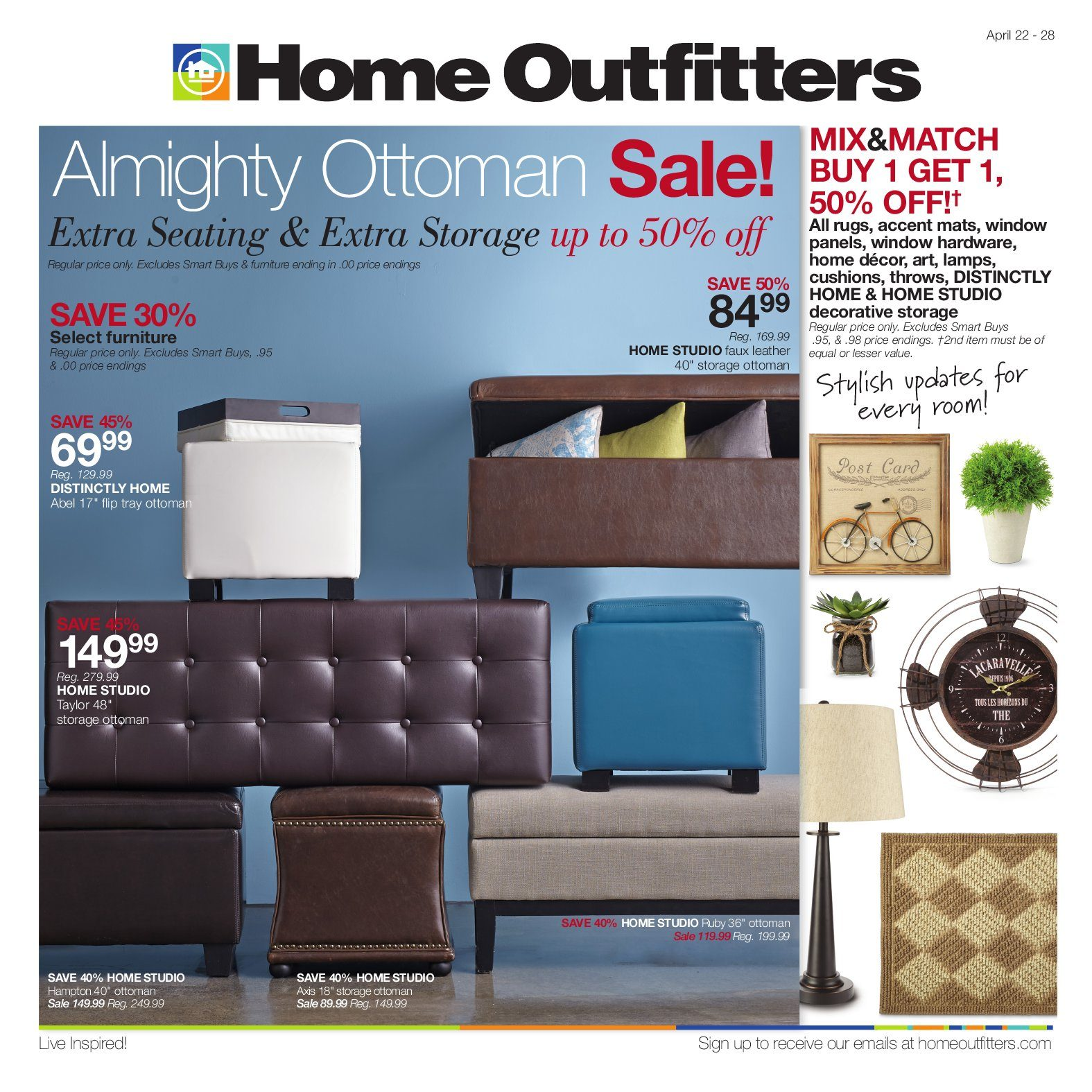 Home Outfitters Weekly Flyer   Weekly   Almighty Ottoman Sale!   Apr 22 U2013  28   RedFlagDeals.com