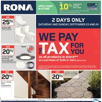 Rona - Weekly - We Pay The Tax For You Flyer