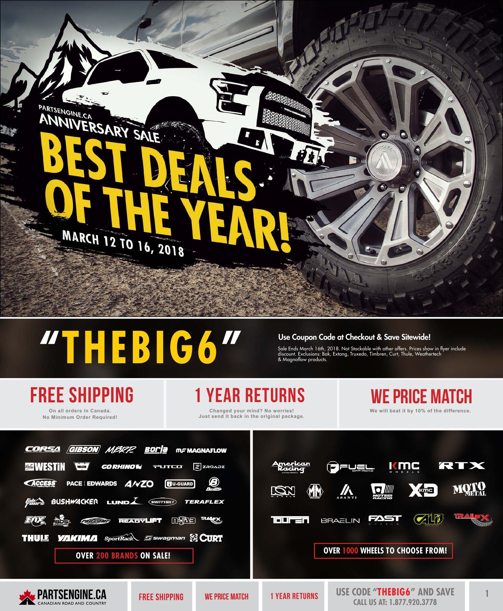 PartsEngine ca Weekly Flyer - Anniversary Sale - Best Deals