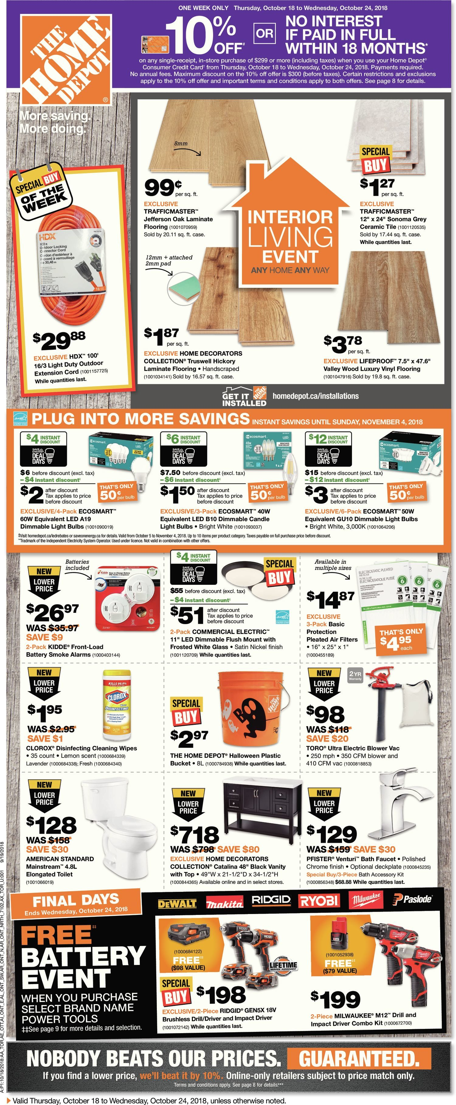 Home Depot Weekly Flyer - Weekly - Interior Living Event - Oct 18
