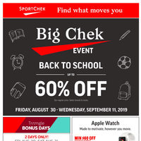 - Big Chek Event - Back To School Flyer