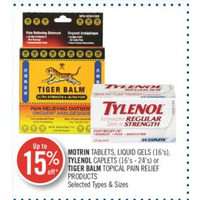 Motrin Tablets, Liquid Gels, Tylenol Caplets Or Tiger Balm Topical Pain Relief Products