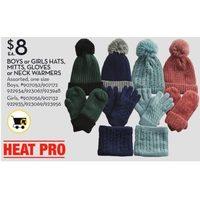 Heat Pro Boys Or Girls Hats, Mitts, Gloves Or Neck Warmers
