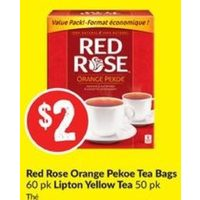 Red Rose Orange Pekoe Tea Bags, Lipton Yellow Tea