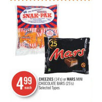 Cheezies Or Mars Mini Chocolate Bars