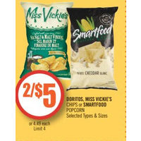 Doritos, Miss Vickie's Chips Or Smartfood Popcorn