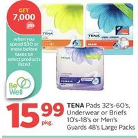 Tena Pads, Underwear Or Briefs Or Men's Guards Large Packs