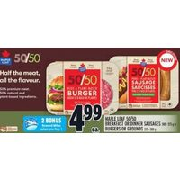 Maple Leaf 50/50 Breakfast Or Dinner Sausages Or Burgers Or Grounds