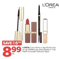 L'oreal Color Riche Or Age Perfect Eye Or Lip, Infallible Eye, Brow Stylist Or True Match Concealer