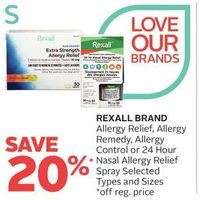 Rexall Brand Allergy Relief, Allergy Remedy, Allergy Control Or 24 Hour Nasal Allergy Relief Spray