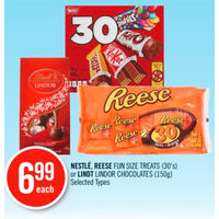 Nestle, Reese Fun Size Treats Or Lindt Lindor Chocolates