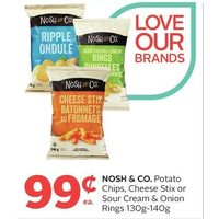 Nosh & Co. Potato Chips, Cheese Stix or Sour Cream & Onion Rings