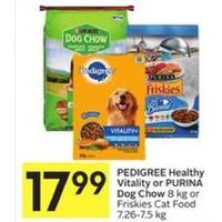 Pedigree Healthy Vitality or Purina Dog Chow or Friskies Cat Food