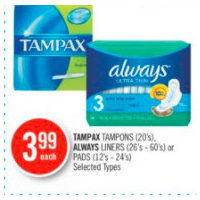 Tampax Tampons, Always Liners Or Pads