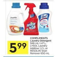Compliments Laundry Detergent, Lysol Laundry Additive Or Resolve Stain Remover