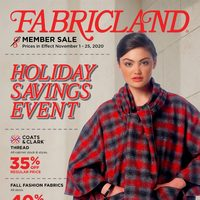 Fabricland - Member Sale - Holiday Savings Event Flyer