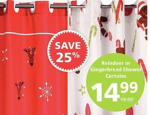 JYSK Reindeer Or Gingerbread Shower Curtains
