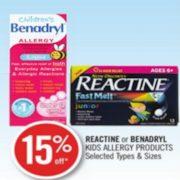 Shoppers Drug Mart: 15% Off Reactine Or Benadryl Kids