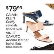 Calvin Klein Cecily Sandals; Vince Camuto Adema Leather Ballet Flats - $79.99