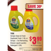 Tide Simply Clean & Fresh Daybreak Fresh Or Simply + Oxi Refreshing Breeze Liquid Laundry Detergent - $3.99/with coupon ($0.30 off