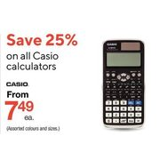 All Casio Calculators  - From $7.49 (25% off)