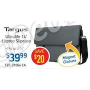"Targus Ultralife Laptop Slipcase - Fits Ultrabooks Up To 14"", Magnetic Closure, Canvas, Charcoal Gray - $39.99 ($20.00 off)"